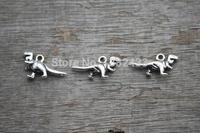 60pcs-- Antique Tibetan silver Mini Cute 3D Dinosaur Charms Pendants 11x21mm