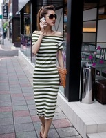 Hot Sale Sexy Ladies Design Long Strapless Stripe Cotton Dresses New Fashion Summer Free Shipping