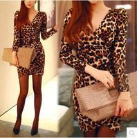 New Cocktail Womens Long sleeve V neck Mini dress elestic Party dress Leopard Tops vestidos S M L XL
