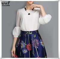Womens Chiffon Tops Blusas Femininas Brand European Style 2015 Summer Casual Elegant White Three Quarter Length Sleeve Blouse