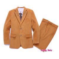 2015 new Curduroy child formal suit children clothing set child party suit blazer suit 3 piece set flower boy Suits 3-13 years