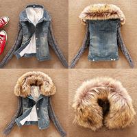 Wholesales Winter Women Jeans Coat Fleece Short Denim Jacket Slim Fur Collar Outerwear Tops