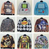 Fashion Women 2015 New Sweatshirts For Men Hoodies Sweatshirt Cat Print Pullovers Funny 3D Hoodies Sweatshirt Scrawl Animal
