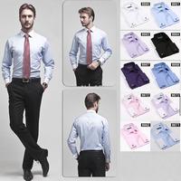 High quality Men's classic french cuff shirt Long sleeve dress shirt men Business formal shirts Mens clothing camisa masculina
