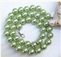 w2546 charming 10mm green sea shell pearl necklace 18'' J-288
