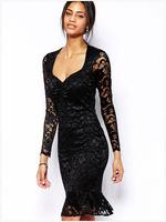 New 2015 Fashion Summer Women Dress Bodycon Lace Dress V-Neck Evening  Sexy Dress Women Ruffles Slim Dress ZHX
