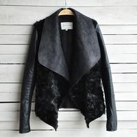 Wholesales Fashion Vintage Women Slim Biker Motorcycle PU Leather Jacket Zipper Fur Coat
