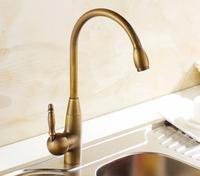 Antique Brass Swivel Spout Kitchen Faucet Single Handle Vessel Sink Mixer Tap torneira cozinha kitchenaid y-214