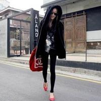Wholesales Fashion Women Winter Black Parka Warm Faux Fur Long Sleeve Hooded Jacket Coats
