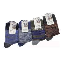Free Shipping Business Casual Men Socks  New 2015 Winter Bamboo Fiber Stripe Socks Long Warm Breathing Socks Retail