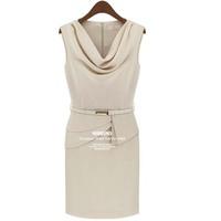 Vestidos Femininas 2015 Mew Women Chiffon Summer Dress Solid Color Sleeveless Fashion Ladies' Office Work Dress