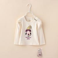 Girls T shirts New Spring Full Sleeve Children Princess Organic Cotton Cartoon tees With Botton Baby Kids Clothing 4pcs/lot