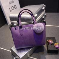 famous brand bag shoulder bag handbag rabbit fur hair balls women's handbag purple black nubuck leather female bags