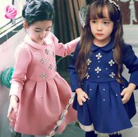 2015 Promotion Baby Girls Spring Fashion Beading Cotton Dress, Children Pink &Blue Clothing, 5 pcslot, Wholesale, Free Shipping