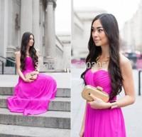 Fuchsia Chiffon A line Prom Dress 2015 Sweetheart Formal Dress Long Party Gowns Floor Length Evening Dress
