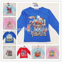 HOT Kids clothing girls boys 100% cotton full sleeve T-shirt casual cartoon frozen tops 20 pcs lot multi-color