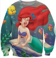 2014 New Cartoon Fashion Cute Sexy Fish Sea werkmaid Cartoon 3d Sweatershirt Pullover for woman Couples Men Unisex