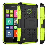 Dual Layer Armor Silicone + Hard Shell Hybrid Kickstand Case Cover For Nokia Lumia 530 Shock Proof