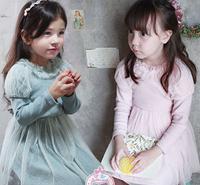 2015 Baby Girls Spring Puff  Sleeve Dot Mesh Dress, Children Sweet Cotton Clothing, 5 pcslot, Wholesale, Free Shipping