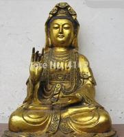 """[wholesale_jewelry_wig ] free shipping 17""""Tibet Buddhism temple Bronze Gild Guan yin Bodhisattva Kwan-Yin Buddha Statue"""