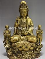 [wholesale_jewelry_wig ] free shipping China Buddhism Brass Copper Two Boys Bodhisattva Kwan-Yin Guan Yin Buddha statue