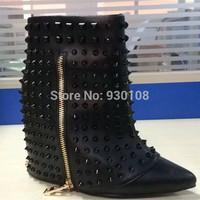 2015 Spring New Designer Studs Wedge Boots Black Leather Spikes Platform Ankle Boots!