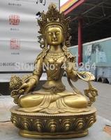 "[wholesale_jewelry_wig ] free shipping 9""Folk Buddhism fane Brass refined White TaRa Kwan-Yin Guan Yin Buddha Statue"