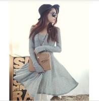 Women Spring and Autumn Wear Long sleeve Big peplum Button Casual Dress elastic Tops vestidos Korea style