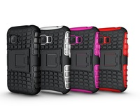 Mix Color TPU&PC Heavy Duty armor stand case for samsung galaxy Young 2 G130 Free Shipping 1pcs