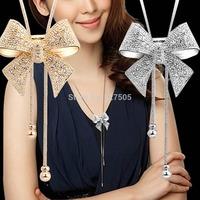 B39 Newest 2014 Stylish Crystal Bowknot Pendant Long Necklace Rhinestone Butterfly Sweater Chain Free Shipping