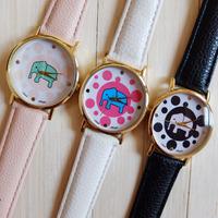 2014 New style 10pcs/lot lucky Elephant Print Watch leather watch for Ladies Women Dress watch fashion quartz Watches