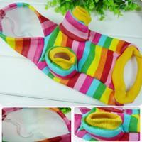 Pet Puppy Dog Warm Rainbow Hoodie Coat Pet Clothes Size S M L XL XXL Free Shipping&Drop Shipping