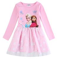 HOT kids baby summer dress tutu girls clothing brand Elsa & Anna frozen Dress For Girl Princess Dresses party costume pink HA095