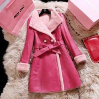 2015 New brand fashion casual autumn winter fur collar long women warm waistcoat high imitation sheepskin leather coats W261