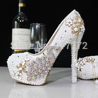 New Design 2015 Pearl Rhinestone Luexy Evening Prom Bridal Shoes Woman 3 Platform High Heel 9 CM 10 CM 11 CM Women Wedding Shoes