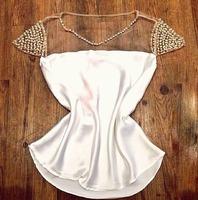 New Fashion Women 2015 Blusas Golden Pearl Mesh Stitching Camisa Feminina Casual Women Blouses & Shirts Plus Size Blusa Feminina