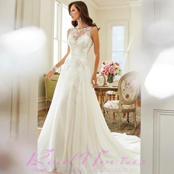 2015 свадьба платье романтический кружевные свадебные платья модных vestidos де noivas перспективы спинки Свадебные платья кружево dis534a