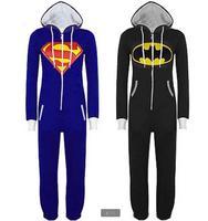 New Arrival Superhero Costume Onesies Adults Superman Blue Onesies Black Batman Onesies for Unisex