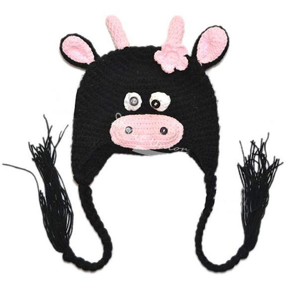New Korean Cute Baby Kids Children Cartoon Cow Style Stretchy Cap Hat Beanie Black(China (Mainland))