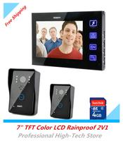 """Video Door Phone 7"""" TFT Color LCD 4G SD Card Rainproof 2V1 Video Intercom Door Bell Doorbell Record IR Night Vision Touch Key"""