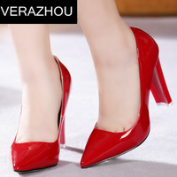 Spring 2015 Tip Red bottom high heels Pumps Wedding Sexy comfort shoes Closed toe pumps Genuine Leather Platform Ankle Fashion