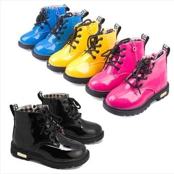 Новый 2015 весна / зима дети обувь искусственная кожа детей загрузки снега девушки и мальчики мартин сапоги черный красный желтый синий бесплатная доставка