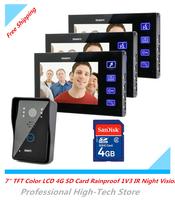 """7"""" TFT Color LCD 4G SD Card Rainproof 1V3 Video Door Phone Video Door Bell Intercom Doorbell IR Night Vision Touch Key"""