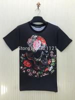 2015 New Arrival 3D Visual Creative Men O-Neck T-Shirts Unique Fashion Male Short Sleeve Cotton Clothes Printed Hip Hop Tees Top