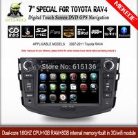 7'' capacitive screen toyota RAV4 2007-2011 Car DVD GPS navigation player Android 4.2.2 1.6GHZ CPU 1GB RAM 8GB ROM  WIFI 3g