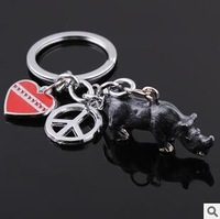 Hot Sale Creative Birthday Gifts Rhino Keychain Alloy Animal Pets Key Chain Love Peace Sign Couple Ring Metal Key Rings Gift