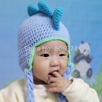 New Dinosaur Design Baby Hat Crochet Knitted Cotton Children Handmade Animal Beanie Cap Infant Winter Warm Earflaps Hat
