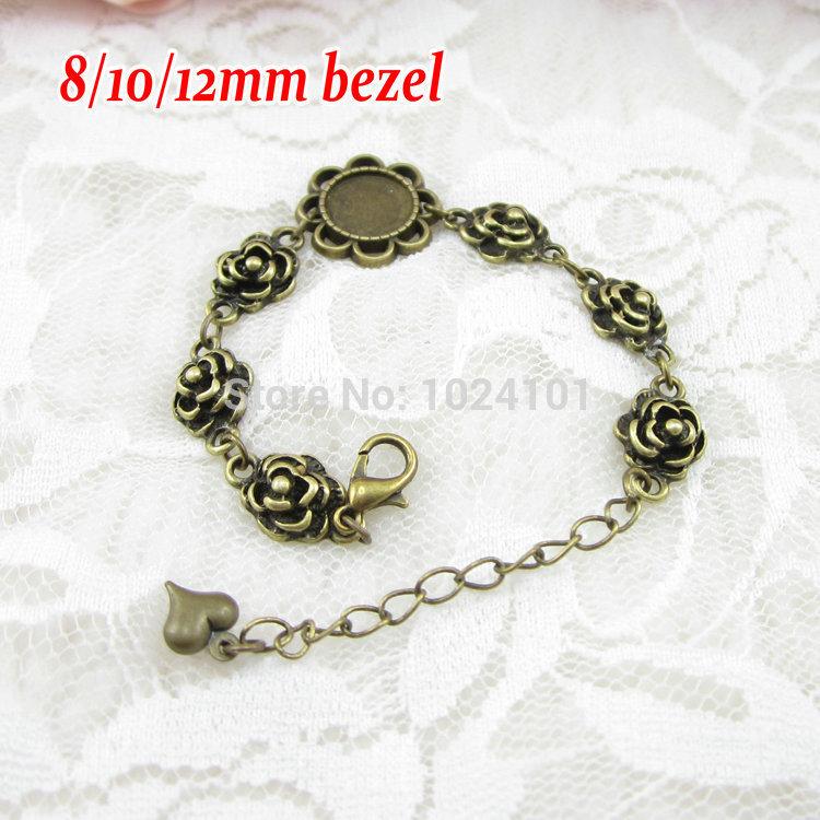 2014 NEW HOT SALE Antique Bronze plated bracelet with 8/10/12mm bezel;rose flower charms bracelet base;bracelet blanks,5pcs/lot(China (Mainland))