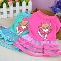 NEW ! 2 PCS/LOT Pink +Blue Good Quality Ballet Bear Cute Dog Pet Puppy Dresses