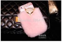 New Luxury 3D Goldtop Rex Rabbit hair Fur shell Rhinestone Diamond Hard Case Cover  for phone 6 6 plus case note 4 case
